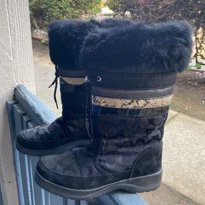 Coach Women's Winter Boot Black Sz 7.5 US